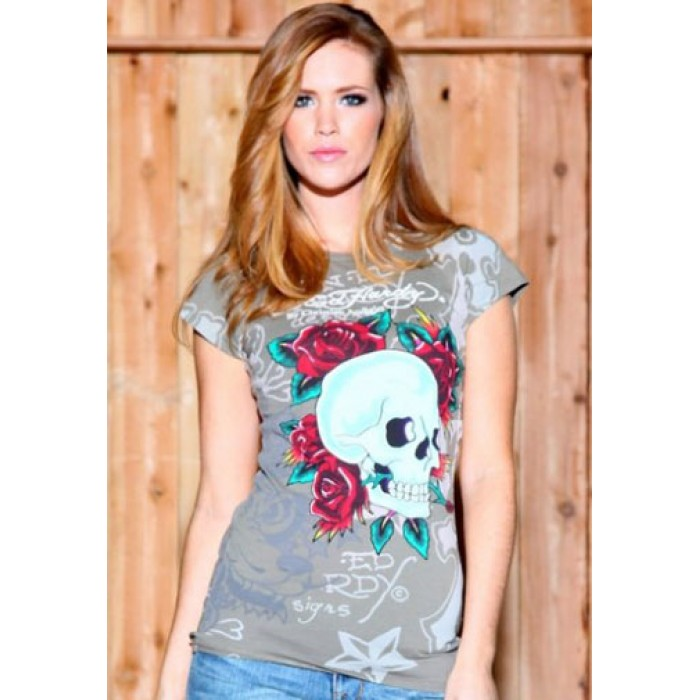 Ed Hardy comforter,Skull N Roses Multiprint Specialty Tee Olive