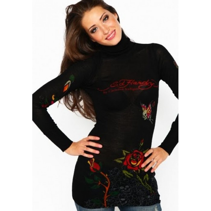 Ed Hardy Rose Tiger Butterfly Long Sleeve T-Shirt in Black