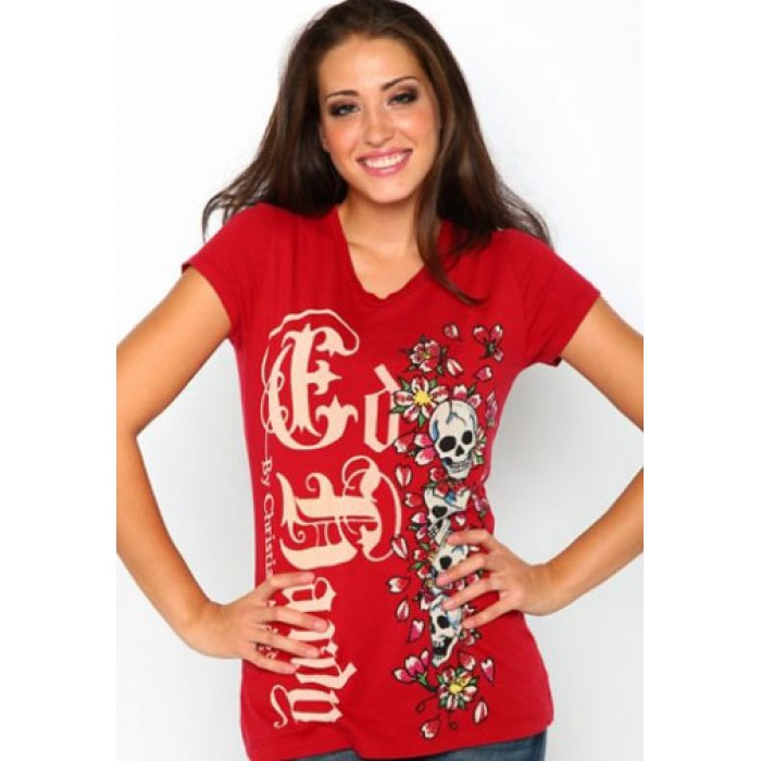 Ed Hardy sale,Skulls And Cherry Blossoms Platinum Gothic Tee