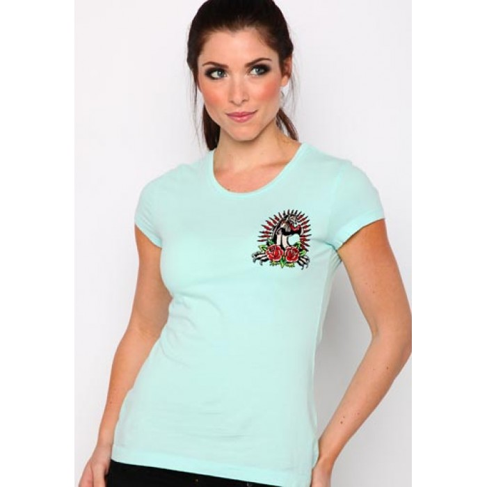us Ed Hardy uk,Panther and Roses Core Basic Embroidered Tee